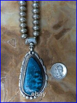 Rare Native American Indian Navajo Sterling Rich Turquoise Necklace Pendant