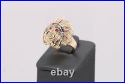 Real 10k Tri-color Solid Gold Native American Indian Chief Head Ring with CZ