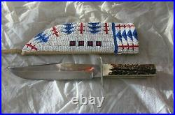 SIOUX INDIAN BOWIE KNIFE NATIVE AMERICAN BEADWORK GLASS BEADS Leather 1930's