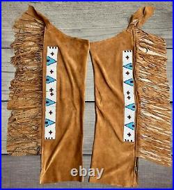 SIOUX Suede Leather Cowboy Native American Indian Beaded Hide LEGGINGS
