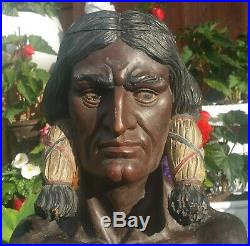 SITTING BULL cigar store indian statue vtg tobacco antique native american sioux