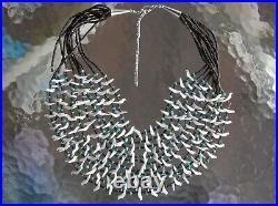 STUNNING, Handmade 10 Strand Navajo Indian White Shell Bird Fetish Necklace