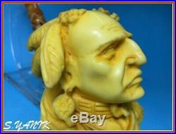 S. YANIK MEERSCHAUM Pipe NATIVE AMERICAN INDIAN LARGE directly myWORKSHOP