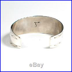 Silver Turquoise Inlay Mens Cuff Bracelet Native American Indian Jewelry Large