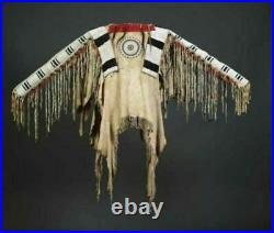 Sioux Style American Native Suede Leather Indian Jacket Fringe & Beads War Shirt
