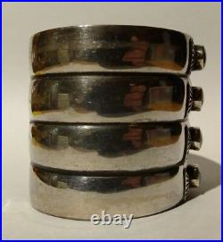 Striking Extra Wide Vintage Navajo Indian Silver & Turquoise Cuff Bracelet