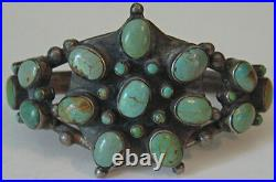 Striking Vintage Zuni Indian Silver Green Turquoise Cuff Bracelet
