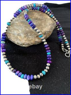 Stunning Navajo Purple Sugilite Turquoise Bead Sterling Silver Necklace 20 1253