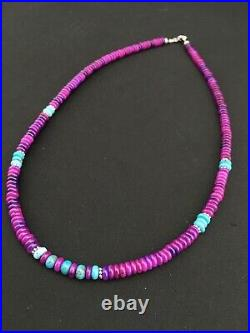 Stunning Navajo Purple Sugilite Turquoise Bead Sterling Silver Necklace 21 1286