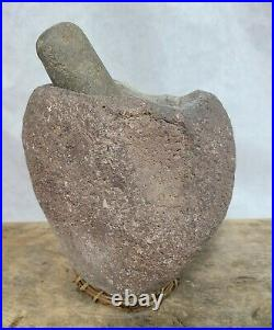 Tall Calif Yokut Mortar Bowl Pestle Native American Indian Grinding Artifact