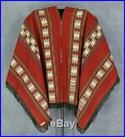 UNBELIEVABLY GREAT ANDEAN PONCHO Rare Antique Indian Beaded Textile TM4475