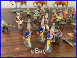 VINTAGE LOT OF ELASTOLIN Germany Composition COWBOYS & INDIANS HORSEBACK