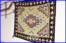 VINTAGE NATIVE AMERICAN INDIAN NAVAJO RUG WEAVING TWO GREY HILLS TEXTILE 50x45