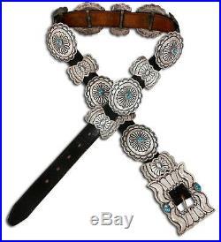 VTG Benson Yazzie Navajo Indian Concho Belt Turquoise. 925 Silver Handmade