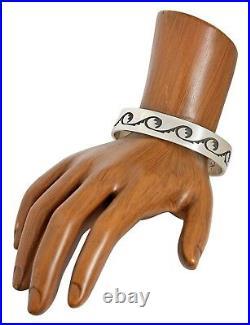 VTG Hopi Native American Indian Signed AA. 925 Silver Handmade Cuff Bracelet