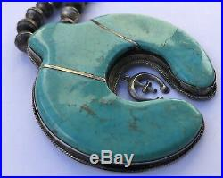 VTG NAVAJO Sterling Silver ROYSTON Turquoise SQUASH BLOSSOM Bench Bead Necklace