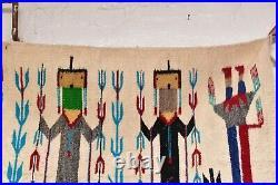 VTG Navajo Rug YEI Native American Indian Pictorial Corn People weaving 46x30