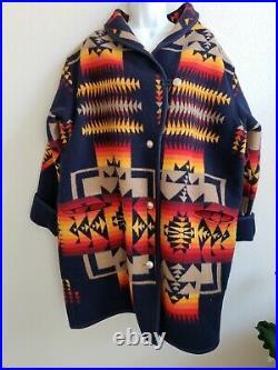 VTG Pendelton Native American/Indian Blanket Long Jacket/Coat with Coin Buttons