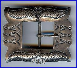 Vintage 1930's Navajo Indian Silver With Repousse And Stampwork Belt Buckle