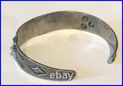 Vintage 1940's Small Wrist Navajo Indian Stamped Arrows Sterling Cuff Bracelet