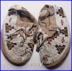 Vintage Authentic Full Beaded Moccasins White Native American Indian 10