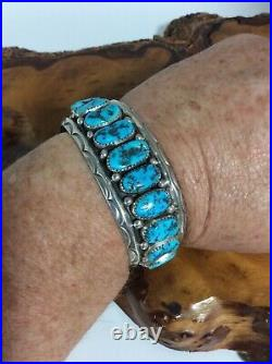 Vintage Ben DuBoise Navajo Cuff Bracelet Sterling Silver Turquoise Signed