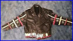 Vintage Black Leather Motorcycle Jacket Cherokee Indian Chief Native American