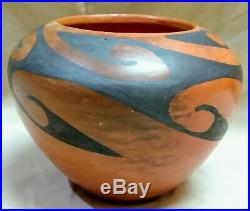 Vintage Black On Red Hopi Pottery By Frieda Poleahla Native American Indian