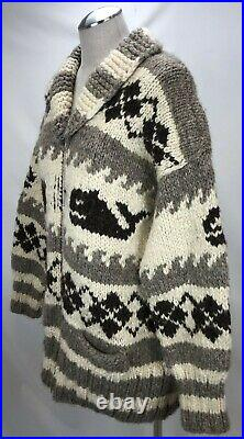 Vintage Cowichan Indian Hand Knit Cardigan Sweater XL 52 Full Zip Wool Whales