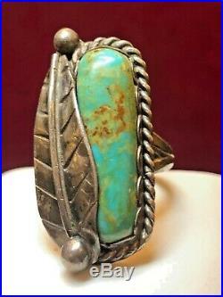 Vintage Estate Sterling Silver Native American Indian Turquoise Ring Signed Er