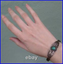 Vintage Fred Harvey Era Navajo Indian Silver Turquoise Cuff Bracelet
