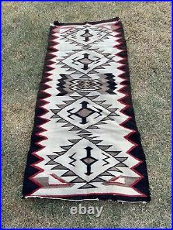 Vintage Hand Woven Navajo Native American Indian Rug 30x 66