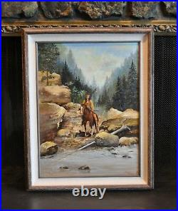 Vintage Landscape Painting Indian on Horseback Mountain Creek Robert Bolster