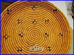 Vintage Large Native American Alaskan Indian Sweetgrass Woven Coil Tray Basket