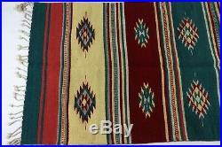 Vintage Native American Indian Hand Woven Southwestern Navajo Print Rug 37x50