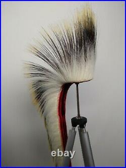 Vintage Native American Indian Roach porcupine dance regalia headdress 18 white