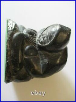 Vintage Native American Indian Sculpture Eskimo Inuit Carving Stone Seal Hunter