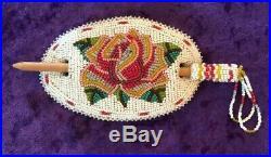 Vintage Native American Shoshone Indian beaded Rose floral barrette hair piece