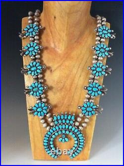 Vintage Native American Squash Blossom Necklace Turquoise Clusters 230 grams