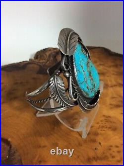 Vintage Navajo Cuff Bracelet Sterling Silver Large Turquoise Stone Fern Leafs