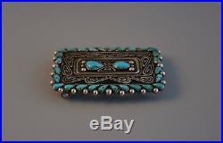 Vintage Navajo Indian Silver Belt Buckle Turquoise Stone Bill Betoney