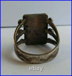 Vintage Navajo Indian Silver Cerrillos Turquoise Ring Size 5-1/2