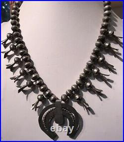 Vintage Navajo Indian Silver Squash Blossom & Spiderweb Turquoise Naja Necklace