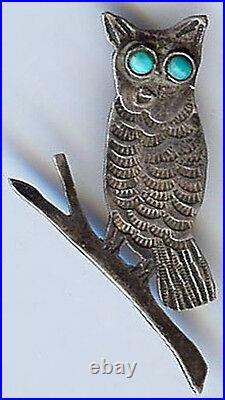 Vintage Navajo Indian Silver Turquoise Owl On Branch Pin Brooch
