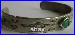 Vintage Navajo Indian Stamped Designs Silver Turquoise Cuff Bracelet