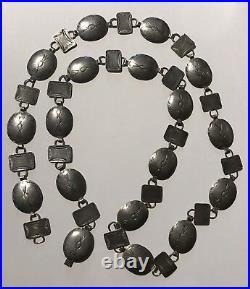 Vintage Navajo Indian Stamped Silver Women's Belt