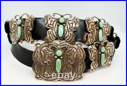 Vintage Navajo Indian Sterling Turquoise Signed Ajc Butterfly Concho Belt