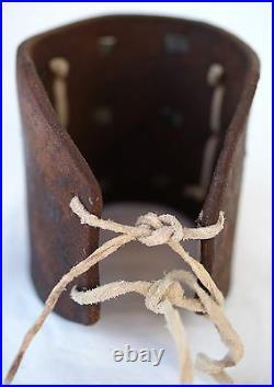 Vintage Navajo Indian Turquoise Tooled Silver Ketoh Bow Guard Bracelet
