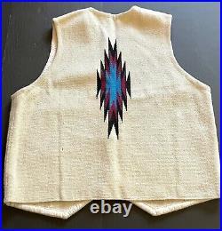 Vintage Ortega's Wool Chimayo Rug Blanket Native American Indian Vest Size Large