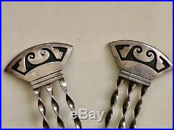 Vintage Pair Hopi Indian Silver Hair Stick Ornament Native American Signed